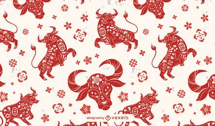 Year of the ox chinese pattern design