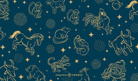 Chinese zodiac pattern design