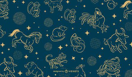 Desenho de padrão do zodíaco chinês