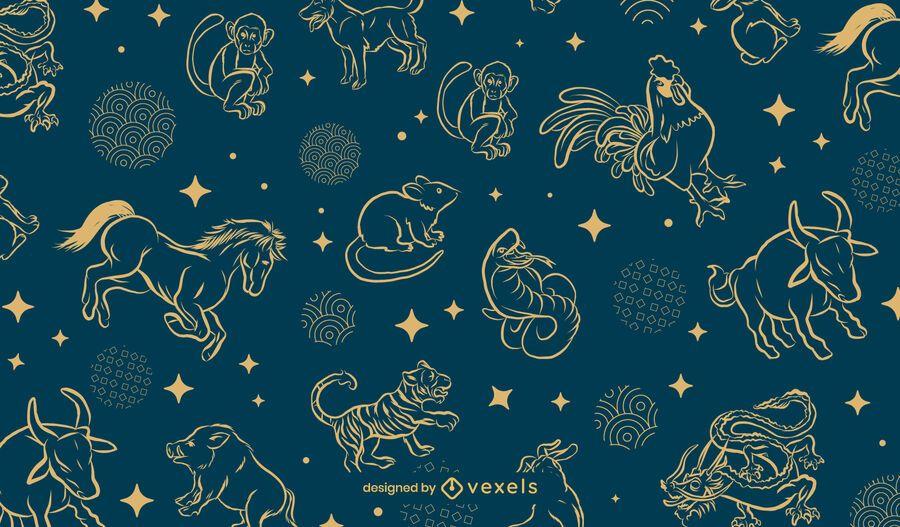 Chinese zodiac pattern design