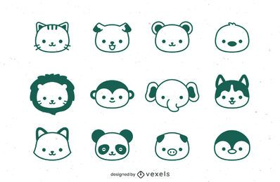 Animal's heads stroke set design