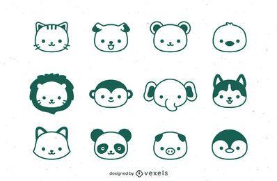 Diseño de conjunto de trazos de cabezas de animales.