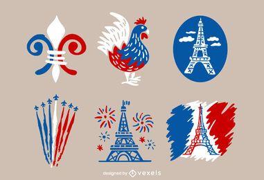 Pacote de Design Ilustrado do Dia da Bastilha