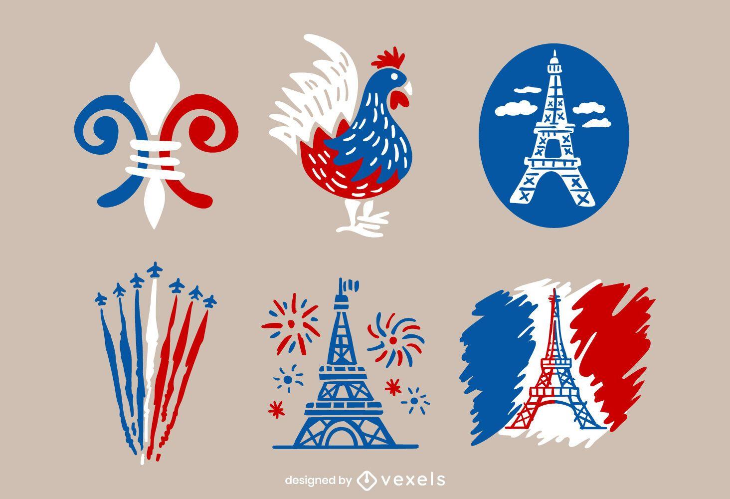 Paquete de diseño ilustrado del Día de la Bastilla