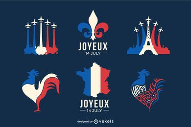 Bastille Day Flat Design Pack