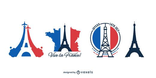 Bastille Day Eiffel Tower Design Pack