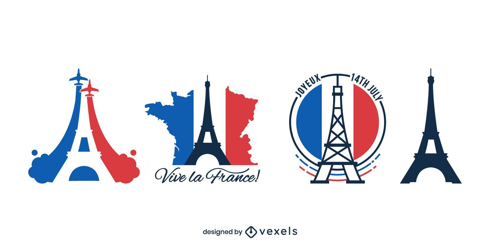 Pacote de Design da Torre Eiffel do Dia da Bastilha