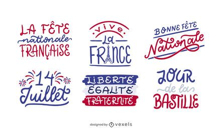 Conjunto de Design de Letras do Dia da Bastilha