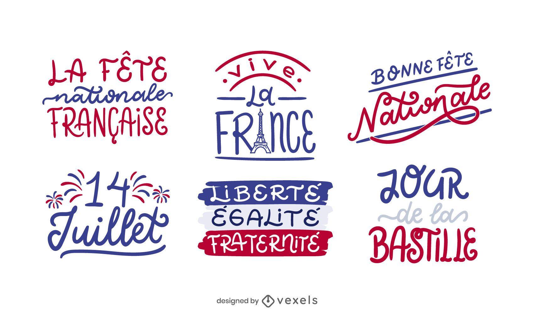 Conjunto de diseño de letras del día de la Bastilla