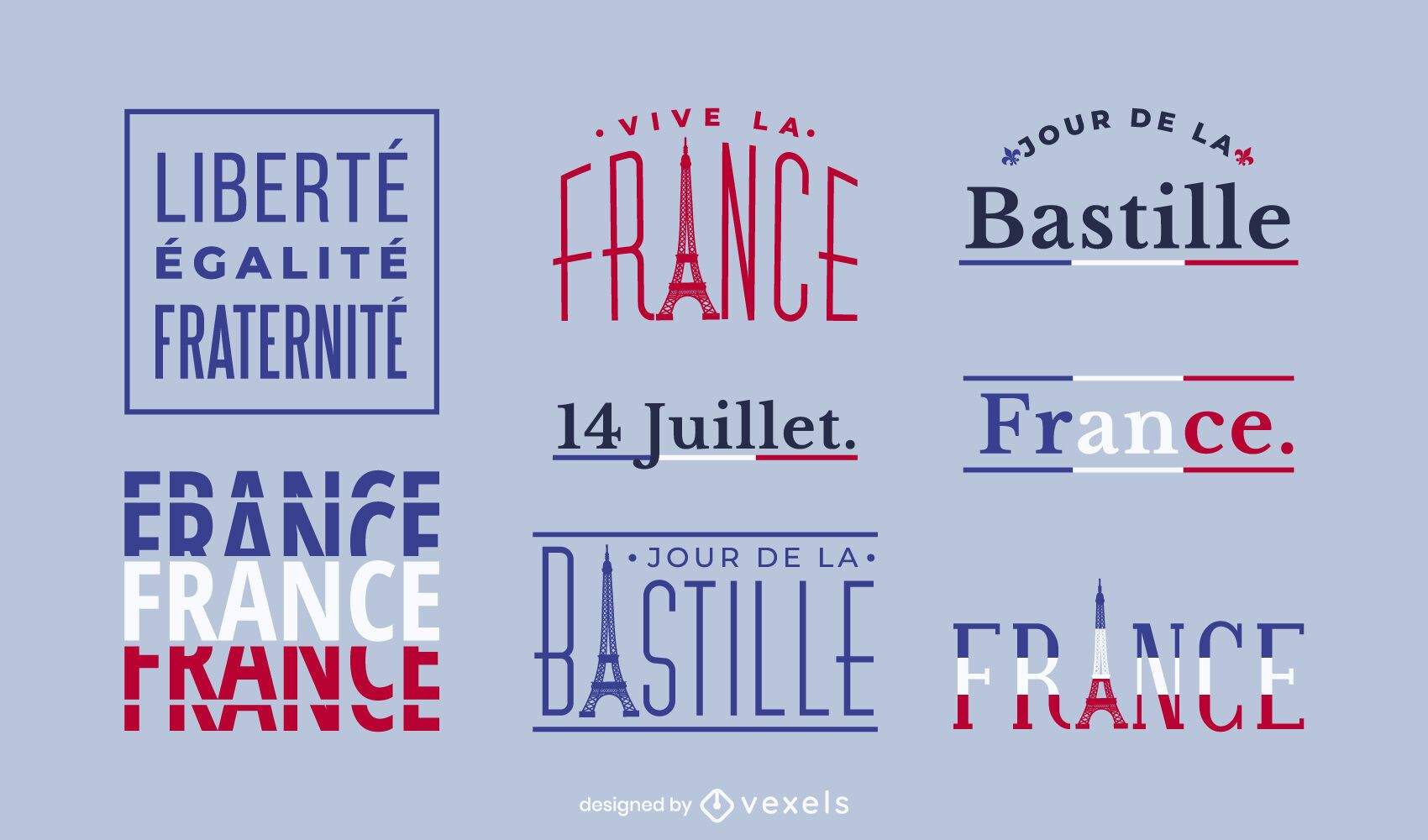 Bastille Day Text Design Set