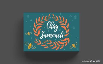 Design de cartão com letras Chag Sameach