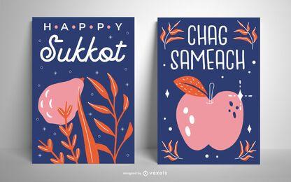 Conjunto de design de cartão Chag Sameach