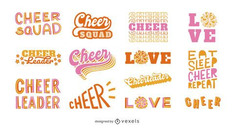 Cheerleading lettering set design