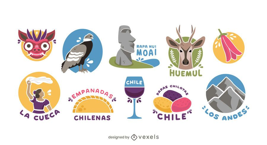 Chile Illustrated Elements Pack