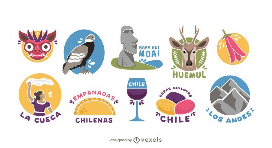 Pacote de Elementos Ilustrados Chile