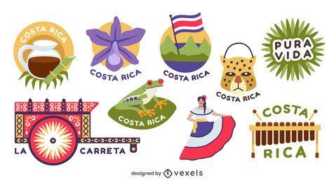 Paquete de diseño de elementos de Costa Rica