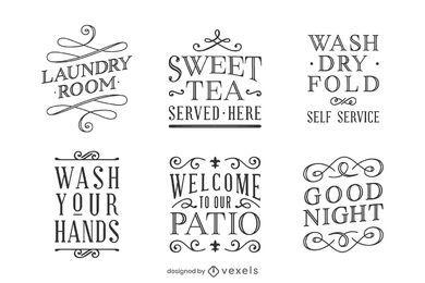 Conjunto de etiquetas de citação de decoração para casa