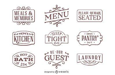 Pacote de etiquetas de decoração para casa
