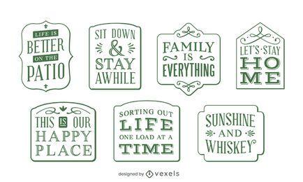 Conjunto de etiquetas de letras de decoração para casa