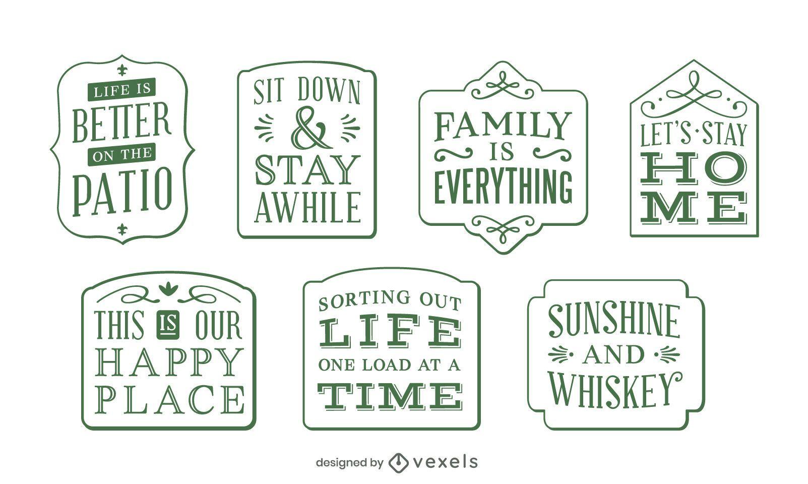 Home decor lettering label set