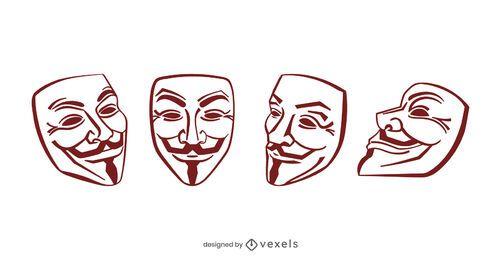Conjunto de design de máscara Guy Fawkes