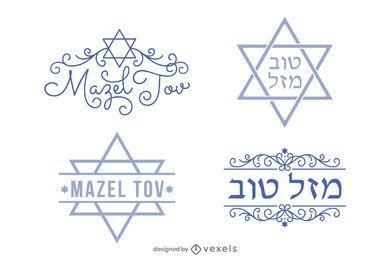 Conjunto de letras hebreas mazel tov