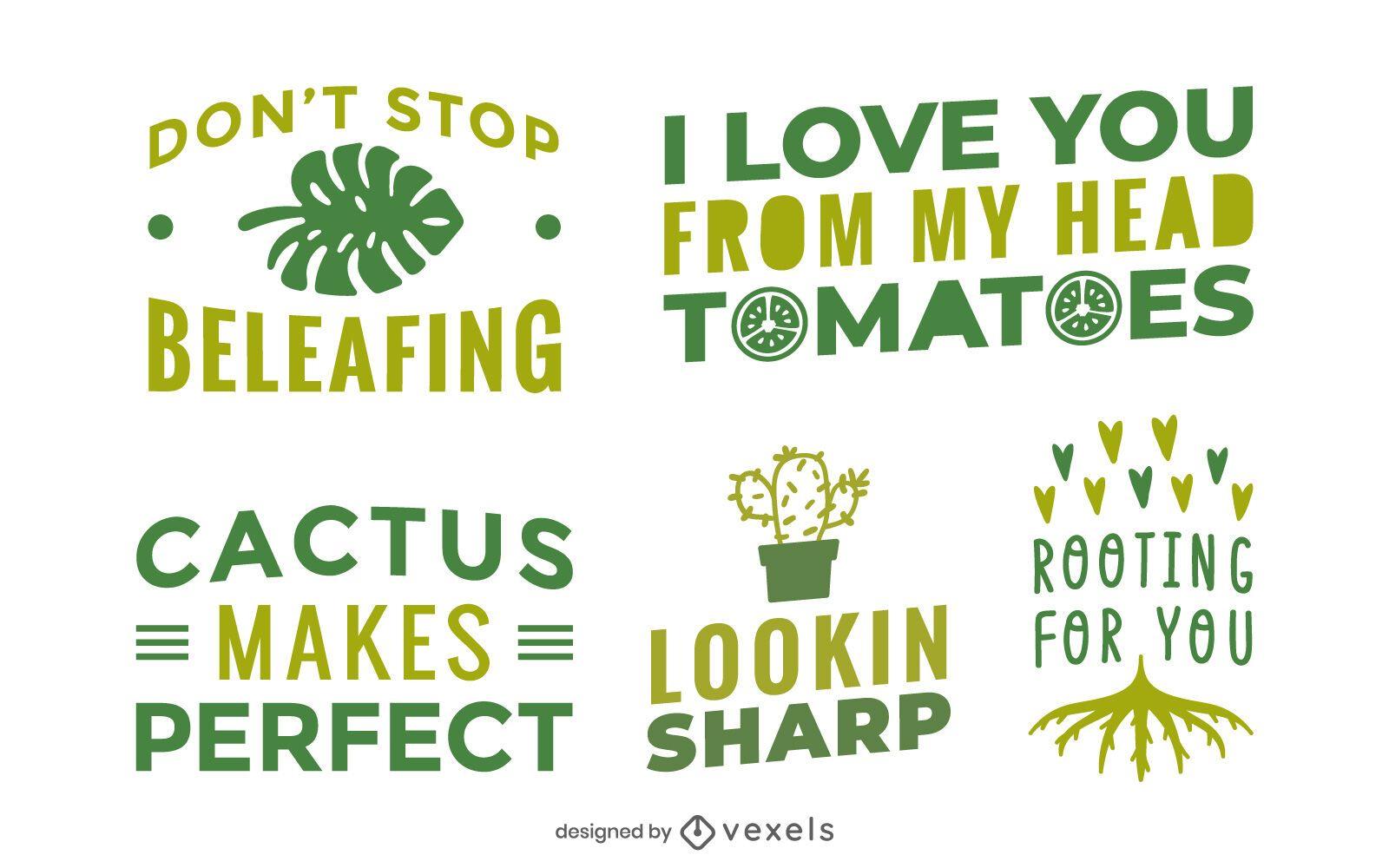 Conjunto de letras de frases de plantas