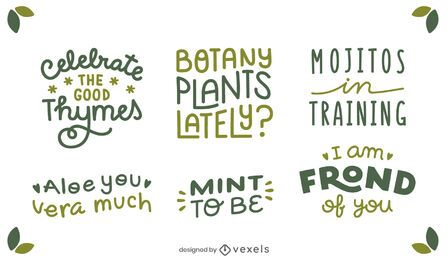 Conjunto de letras de citas de plantas