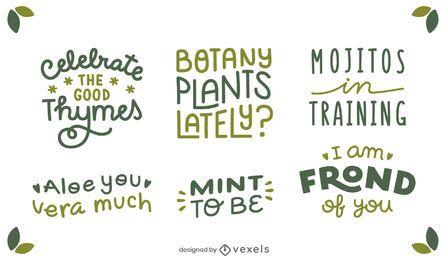 Plant quotes lettering set