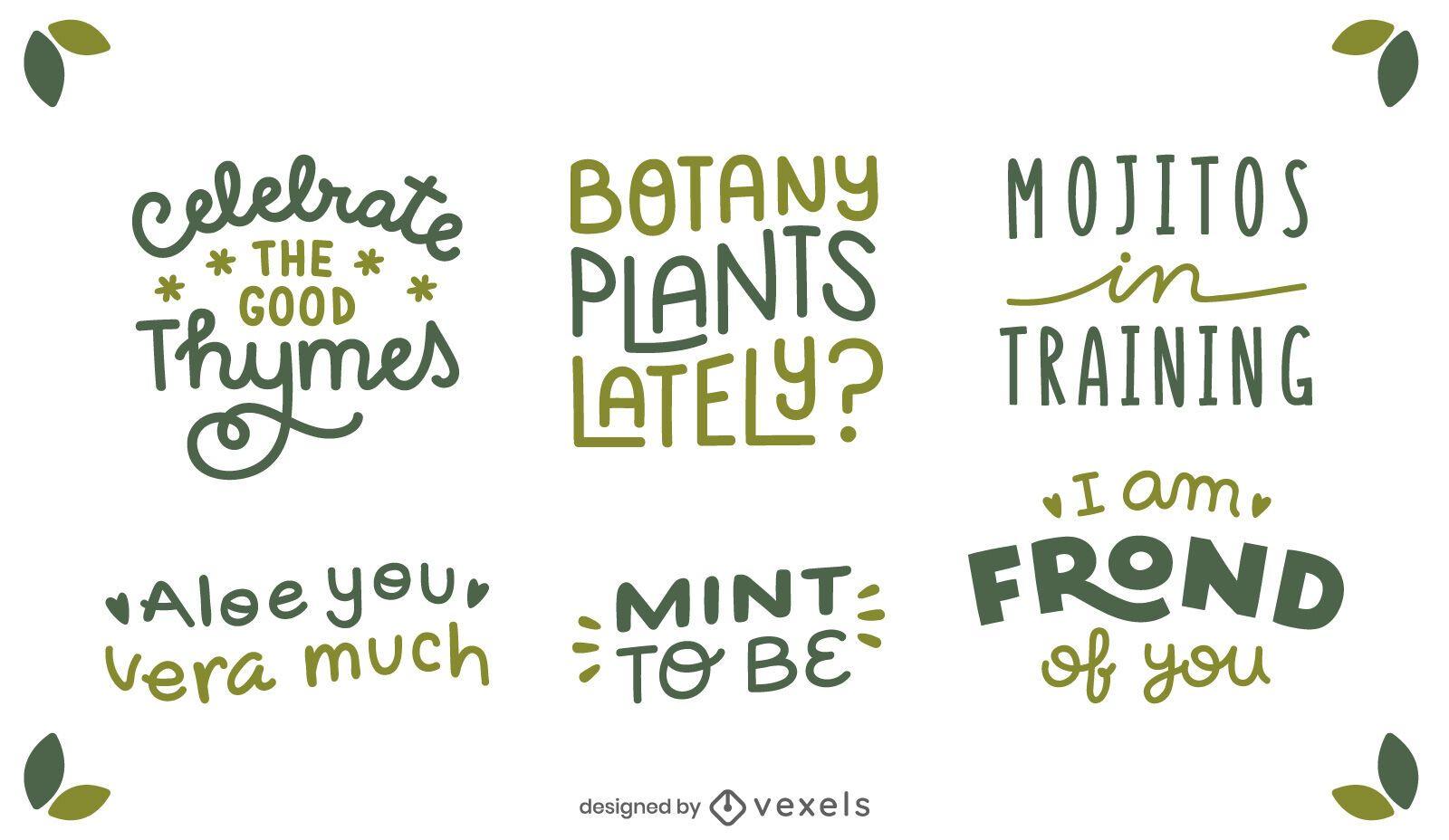 Conjunto de letras de citações de plantas