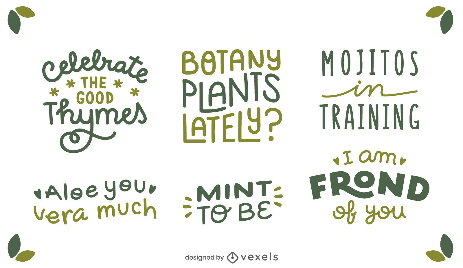 Plant Quotes Lettering Set Vector Download