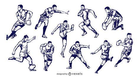 Conjunto de jugadores de rugby dibujados a mano