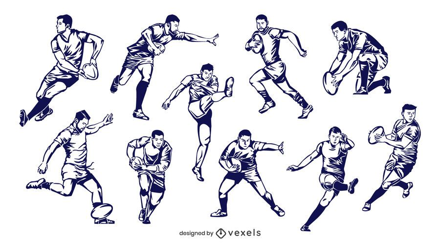 Hand drawn rugby players set