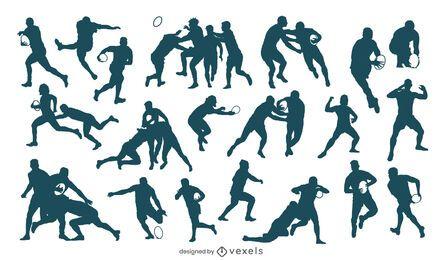 Conjunto de silhueta de jogadores de rugby