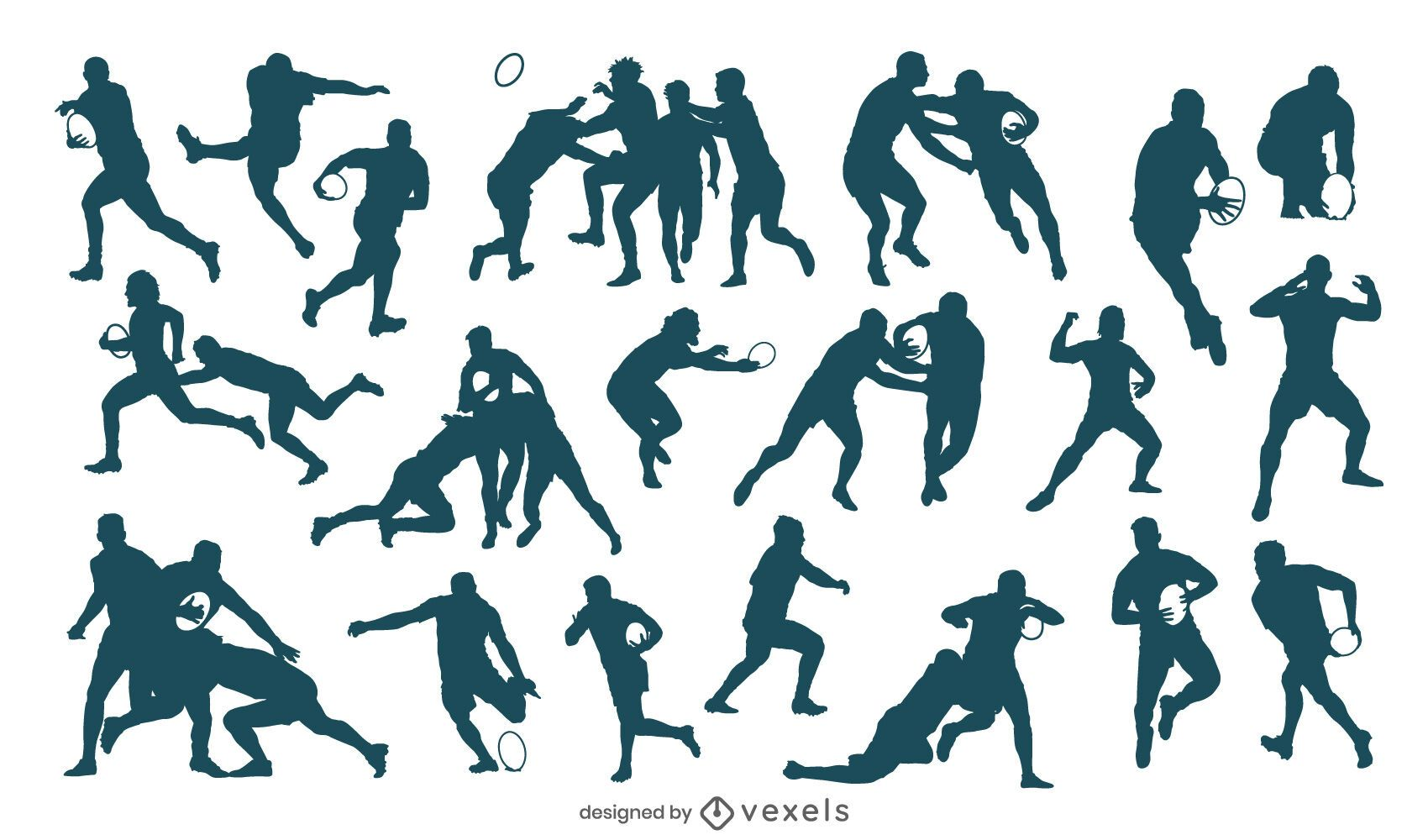 Rugby players silhouette set