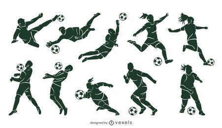 Conjunto de silueta de jugador de fútbol
