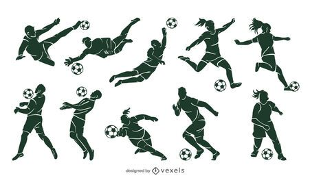 Soccer player silhouette set