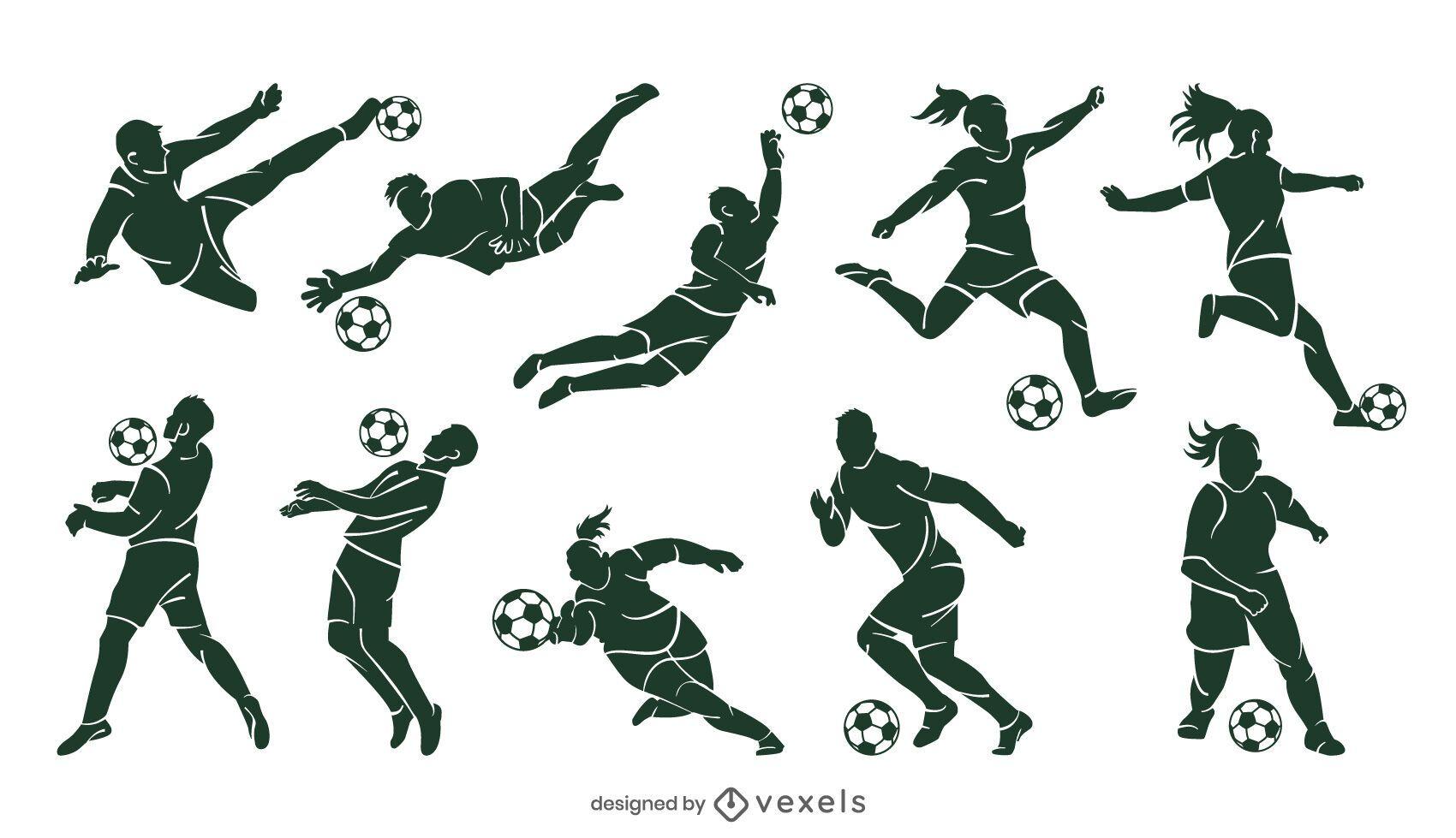 Conjunto de silhueta de jogador de futebol