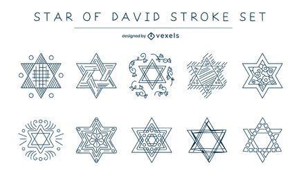 Conjunto de trazos de estrella de david