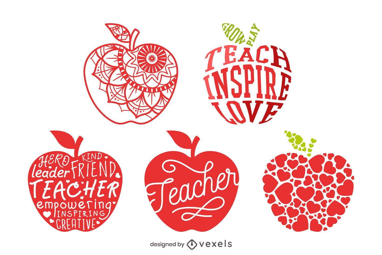 Conjunto de composição de maçã do professor