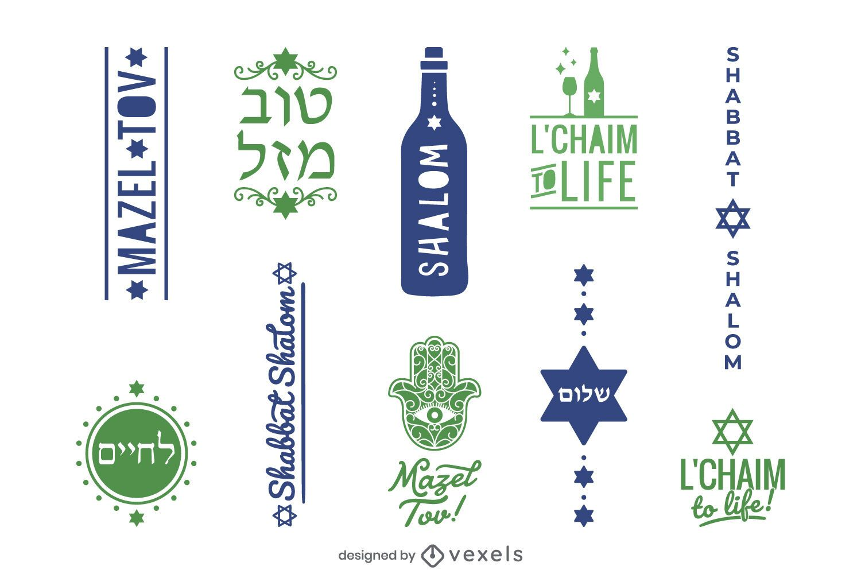 Jewish sayings label set