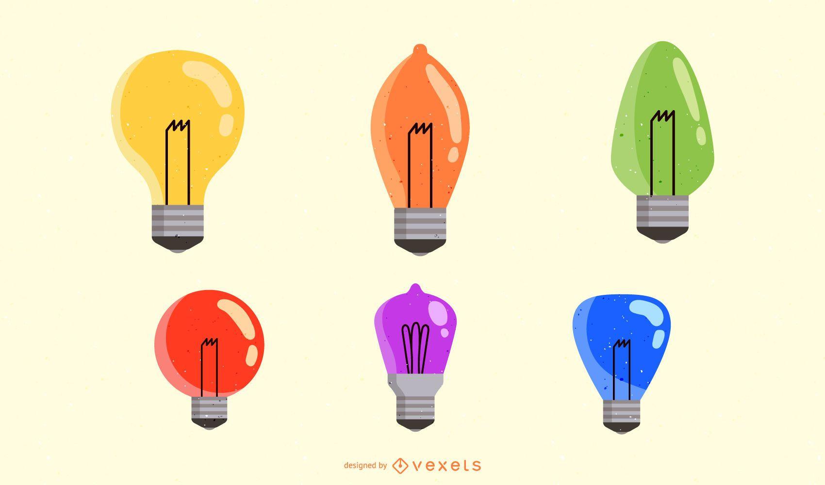 Vector de bombillas de luz de diferentes colores