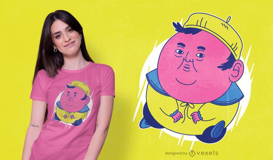 Diseño de camiseta fat man meme
