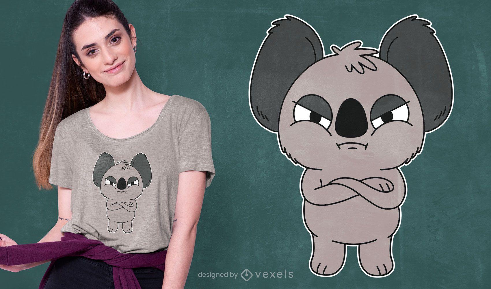 Diseño de camiseta de koala enojado