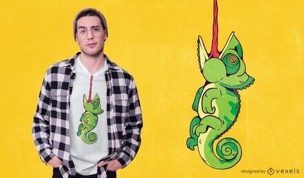 Diseño de camiseta animal camaleón.