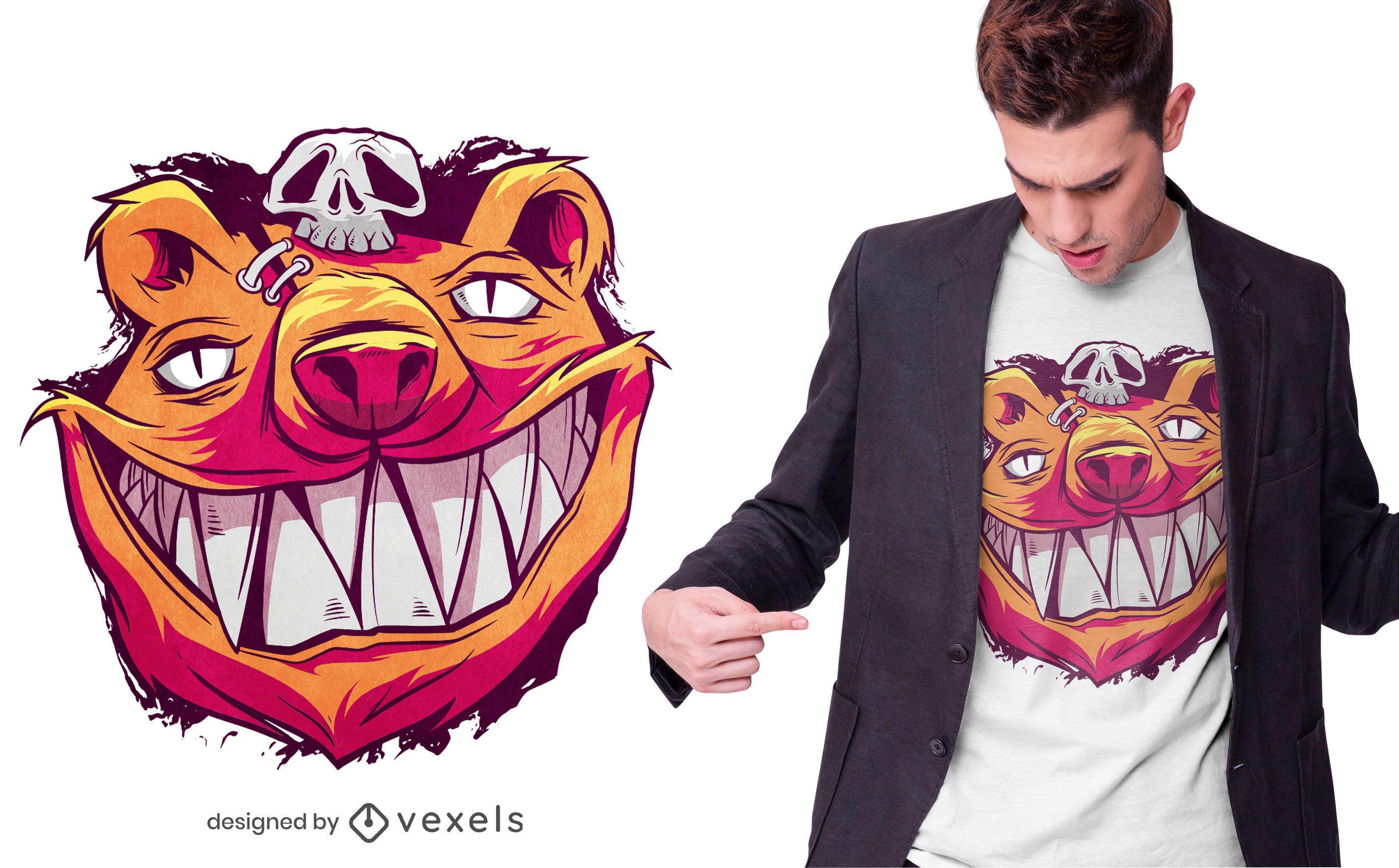 Diseño de camiseta de oso aterrador