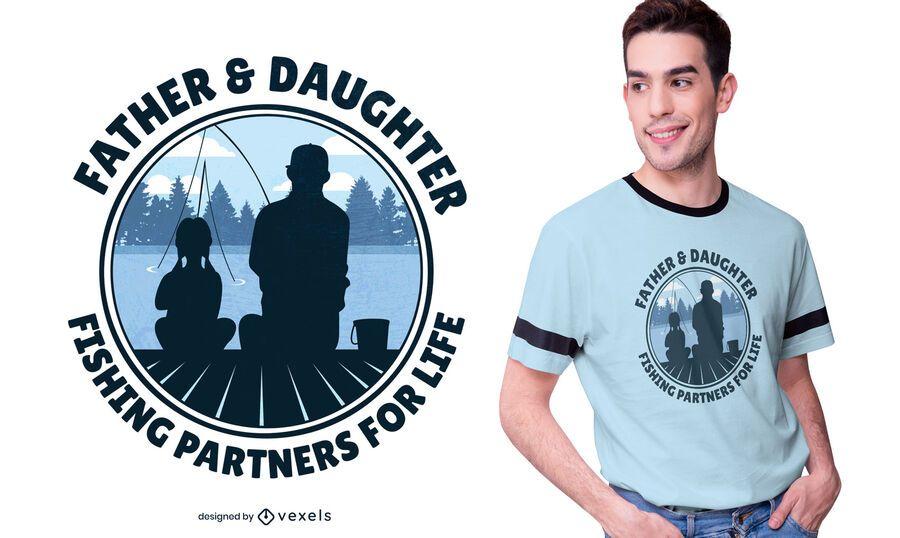 Diseño de camiseta de pesca padre e hija.