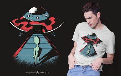 Diseño de camiseta alienígena entrando ovni