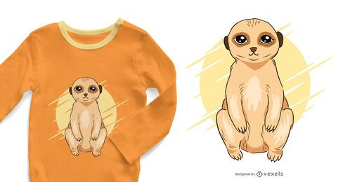 Design de camiseta meerkat fofo