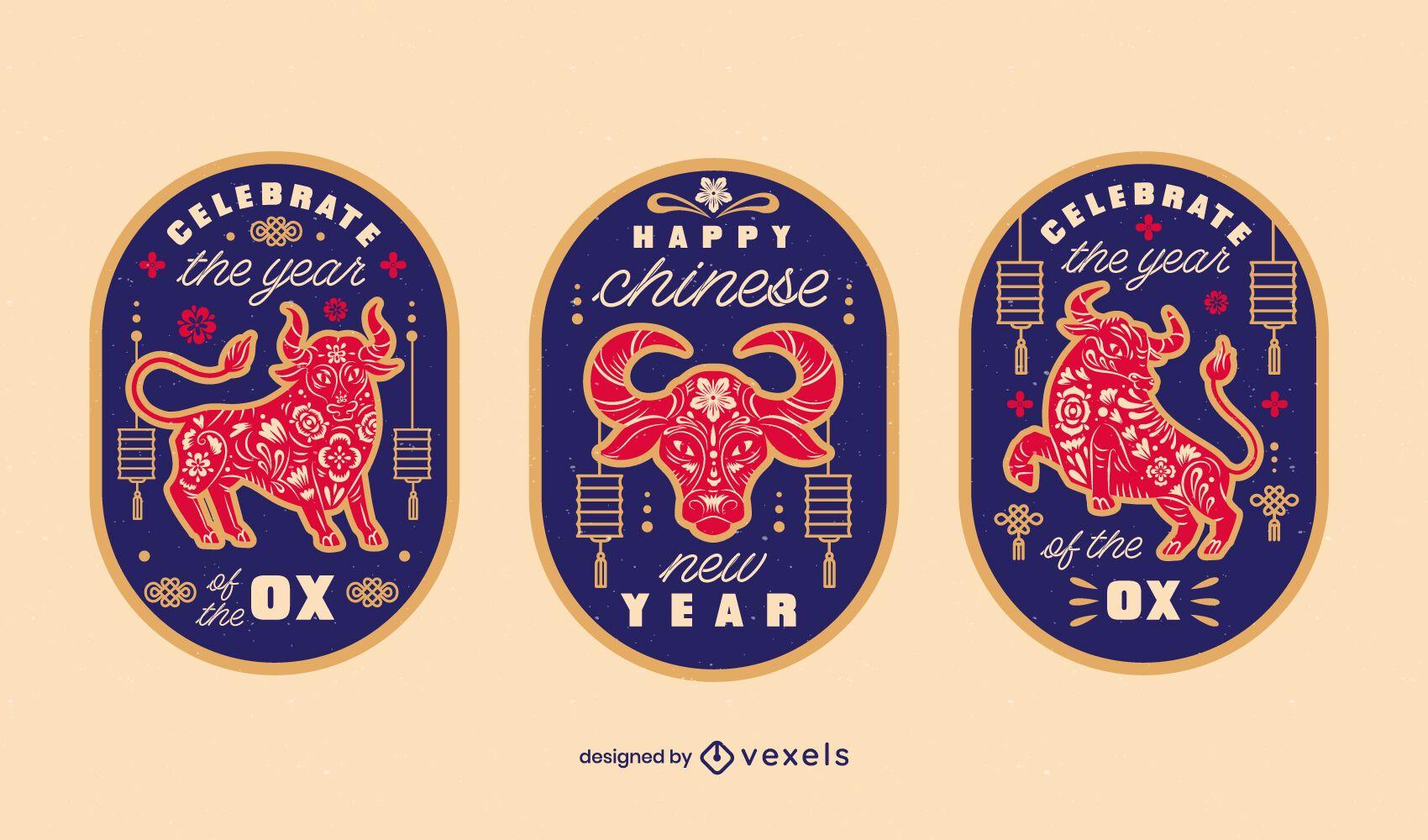 Conjunto de distintivo chinês do ano do boi
